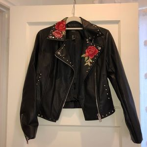 Forever 21 faux leather rose jacket
